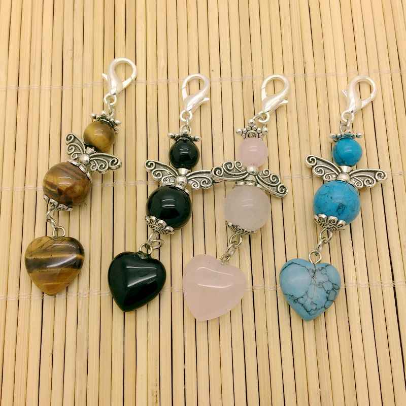 Moda natural pedra chaveiro pingentes para saco acessório artesanato presente proteção anjo pingente jóias 10 peças muito