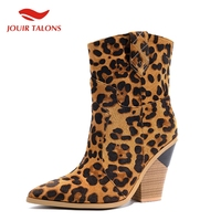 Brand Leopard Fashion Plus Size 46 Vintage 10cm High Heels mid calf Boots Women Shoes Shopping Western Boots Shoes Woman