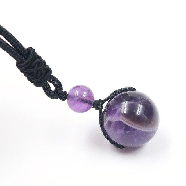 Xinshangmie perlas naturales de amatista moradas personalizadas colgante de bola collar de cadena de cuerda para