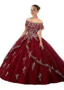 Бордовые платья Quinceanera, длинное недорогое бальное платье для выпускного вечера, 16 кружевных платьев, Vestidos 15 anos, 2019