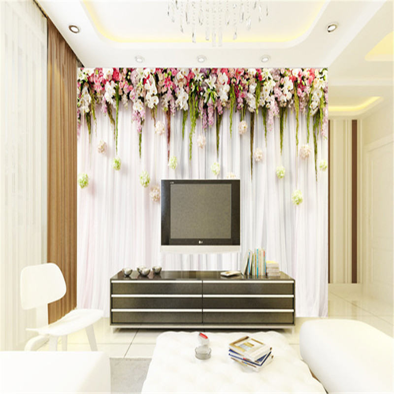 Europe Style Wallpapers 3D Custom Photo Murals Romantic Flowers Walls Papers with Plants Pictures for Living Room TV Home Decor custom photo size wallpapers 3d murals for living room tv home decor walls papers nature landscape painting non woven wallpapers