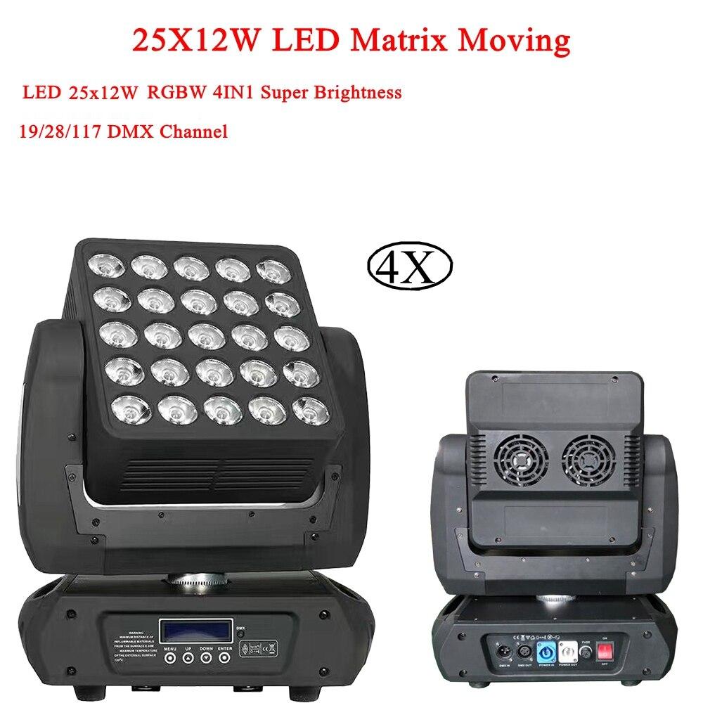 4 Pcs/Lot Lumières Disco Tête Mobile Perle Lumière 25X12 W RGBW 4IN1 Matrice Moving Head Wash Stage de Lumière professionnel Pour Disco DJ Bar
