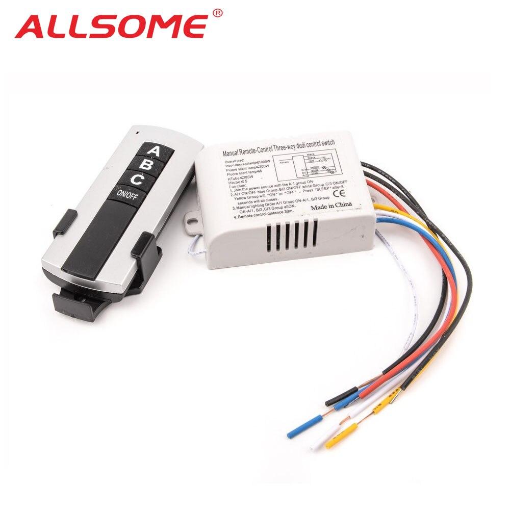 Allsome 220V 3 Channel Wireless Remote Control Switch Digital Remote Control Switch For Lamp & Light HT034