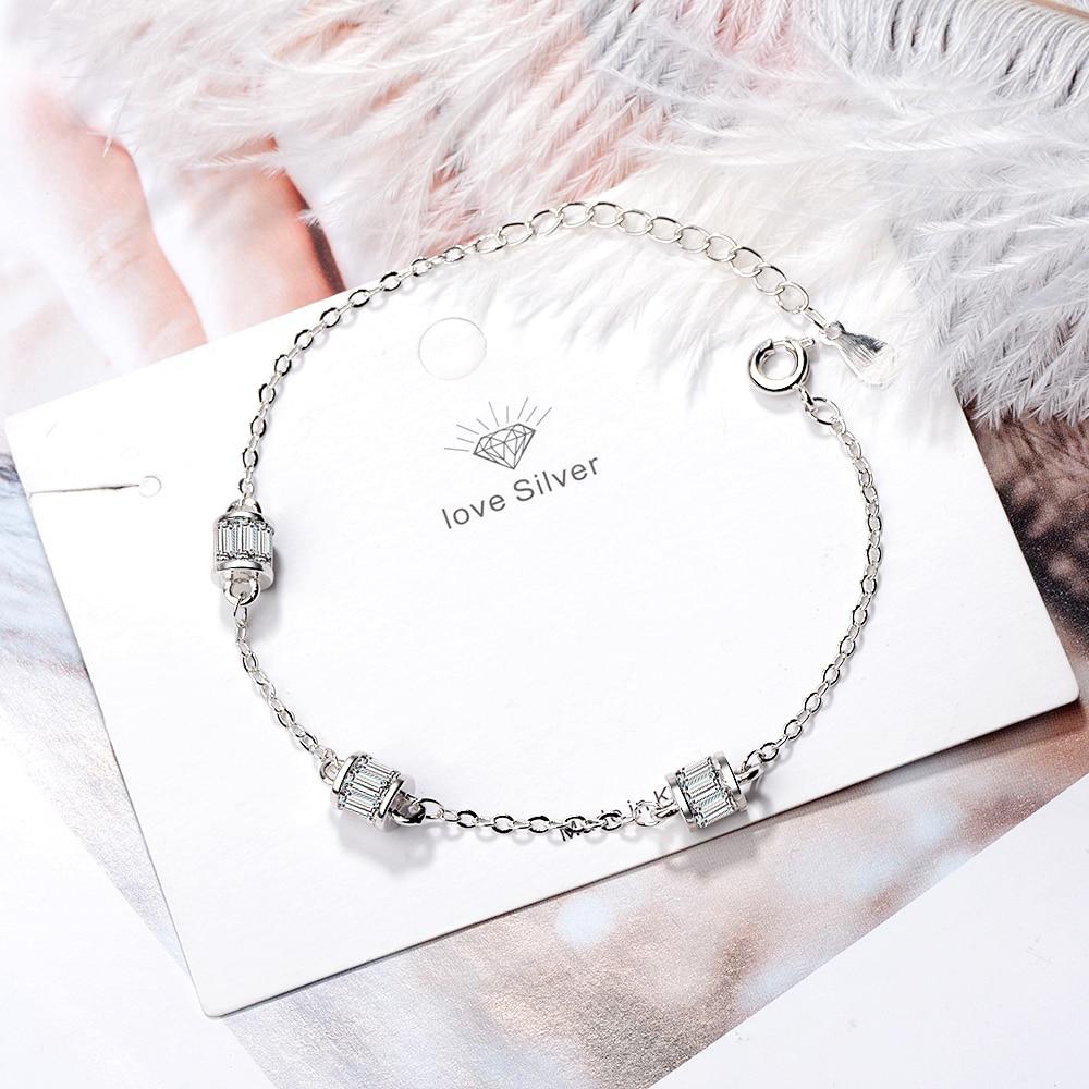 Brand Fashion 925 Sterling Silver Zircon Cylindrical Bracelet For Women Valentines Gift Wedding Jewelry Pulseira S-b225