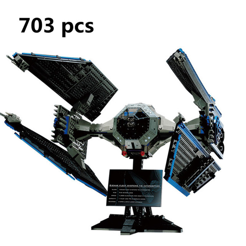 New 703pcs Lepin 05044 Star Model Wars Edition The TIE Interceptor Building Blocks Bricks Toys 7181 Boys Gifts alien military конструктор lepin star plan истребитель tie interceptor 703 дет 05044