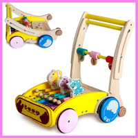 Early Child Wooden Baby Stroller Folding Cart Toys With Wheels Trolley Music Walker Pushchair Functional Four