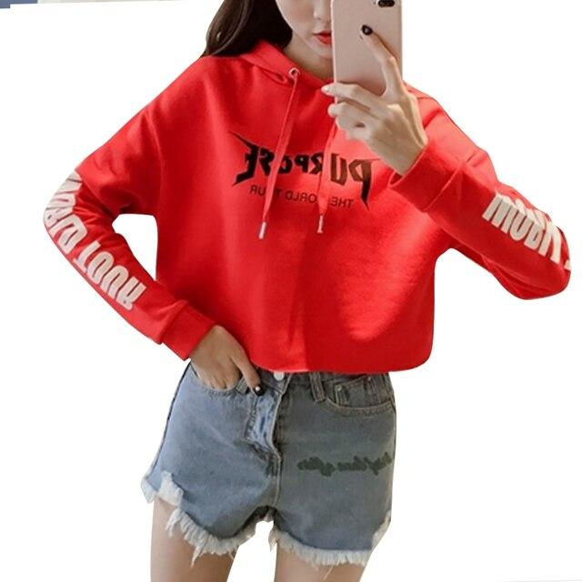 Merah Sweatshirt Crop Top Berkerudung Longgar Pullover Hoodie Huruf Cetak  High Street Jaket Pendek Mantel Lengan ebdd0197f7