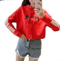 Red Sweatshirt Crop Top Hooded Pullover Loose Hoodie Letters Print High Street Short Jacket Coat Long