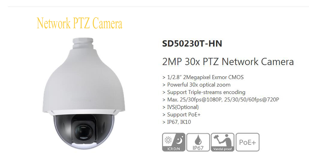 DAHUA 2Mp HD 30x Ultra-high Speed Network PTZ Dome Camera IP67 Vandalproof without Logo SD50230T-HN dahua 2mp hd 30x ultra high speed network ptz dome camera ip67 vandalproof without logo sd50230t hn