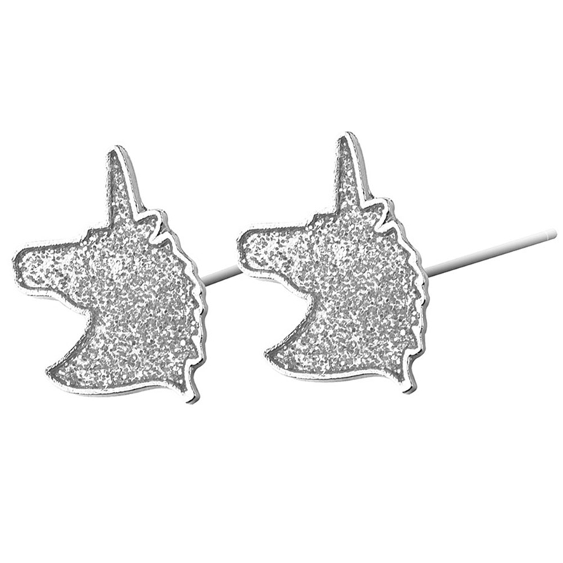 Unique Charming Jewelry Silver Color Crystal Unicorn Earrings For Women Wedding Gift Cute Animal Small Earring Valentine's Day