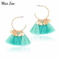 Bohemia Multicolor tassels wafer Drop earrings Ethnic vintage charm Earrings BOHO Beach Holiday Indian Style Ear Jewelry