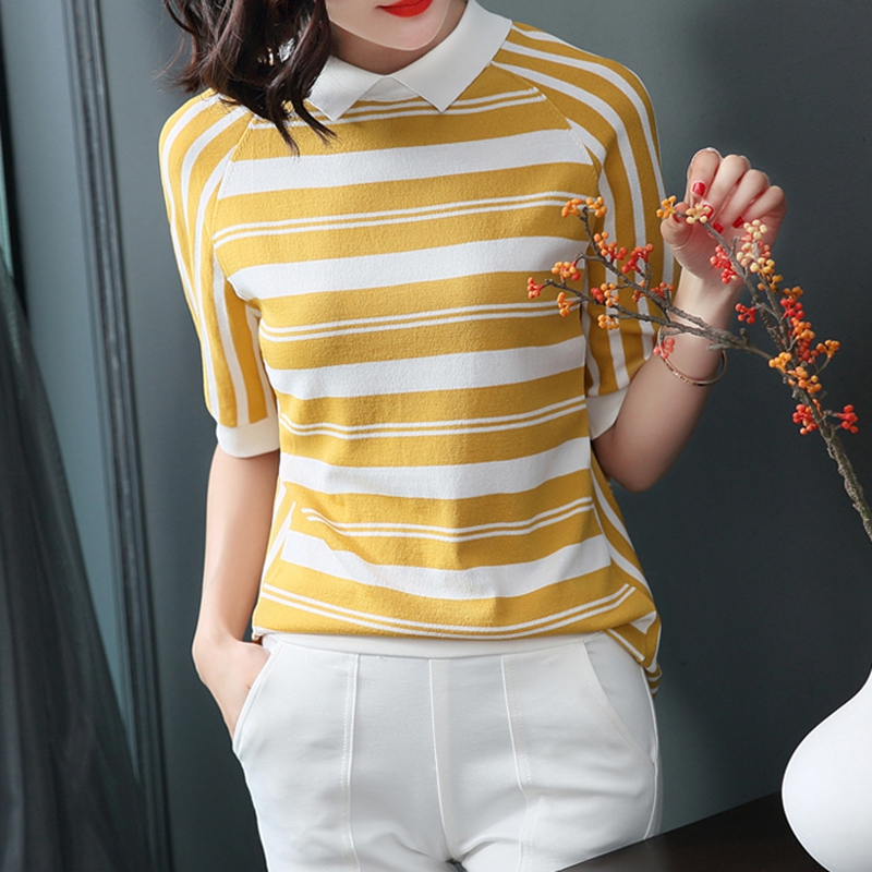 New Spring Summer Sweater Women Knitted High Elastic Turn-down Collar Stripe Jumper Women Sweaters Pullovers Female Tops Ladies