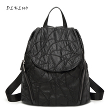 Fashion Women Water Washed  Genuine Leather Backpack For Teenagers Girls  School Bags  Mochilas Mujer Female Leisure Backpack