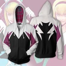 цена на 3D Print Movie Gwen Stacy Spider Gwen Sweatshirt  Hoodie Cosplay Costume Anime Hoodie Jacket Coats Men and Women New