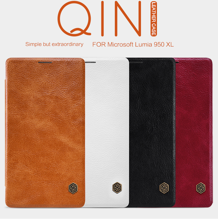 Original Nillkin Qin Series Cell Phone Leather Cases for Microsoft Lumia 950 XL Luxury Flip Case