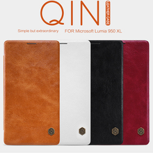 Original Nillkin Qin Series Cell Phone Leather Cases for Microsoft Lumia 950 XL Luxury Flip Case Smart Flip Leather Case Funda