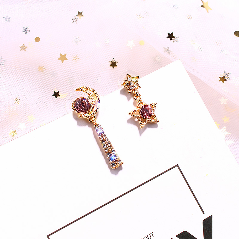 Jewelry & Accessories 2019 Asymmetry Crystal Star Moon Swing Earring Pink Color Korean Fashion Jewelry Personality Simple Party Wedding Bijoux