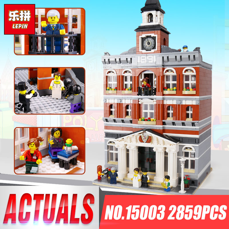 IN STOCK Lepin 15003 Creators The Town Hall Model Compatible legoing 10224 Building Kits Blocks Kid DIY Toy Gifts for children free dhl shipping lepin 15003 new 2859pcs creators the town hall model building kits blocks kid toy gift