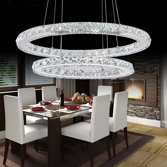 crystal modern led ceiling light warm white bedroom living room lights circle rings cristals avize indoor - Modern Ceiling Lights Living Room