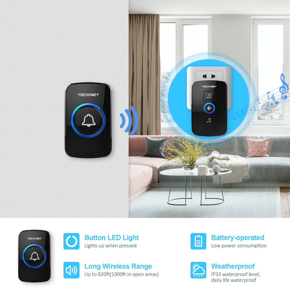 Wireless Cordless Doorbell Twin Waterproof 32 Chime Portable Long Range Black