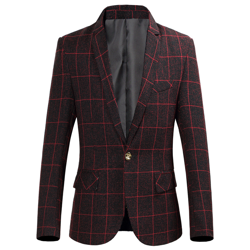 Quality Men's Single Button Blazer Retro Classic Plaid Slim Suit Jacket Wine Red Gray Fashion Business Casual Blazer Size S-6XL
