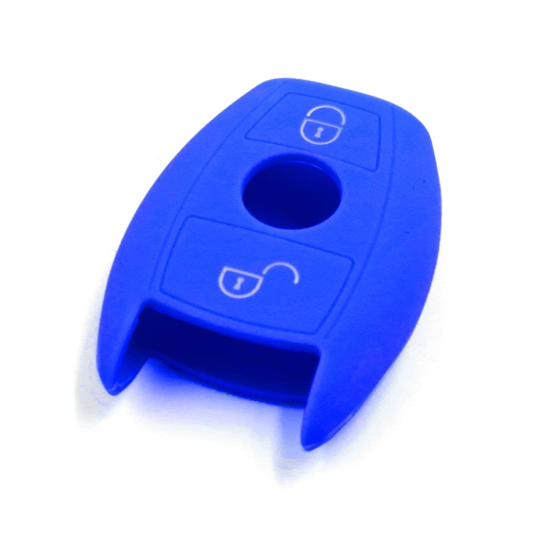 uxcell Blue Silicone Car Remote Key Fob Cover Case for Mercedes Benz E C Class C260
