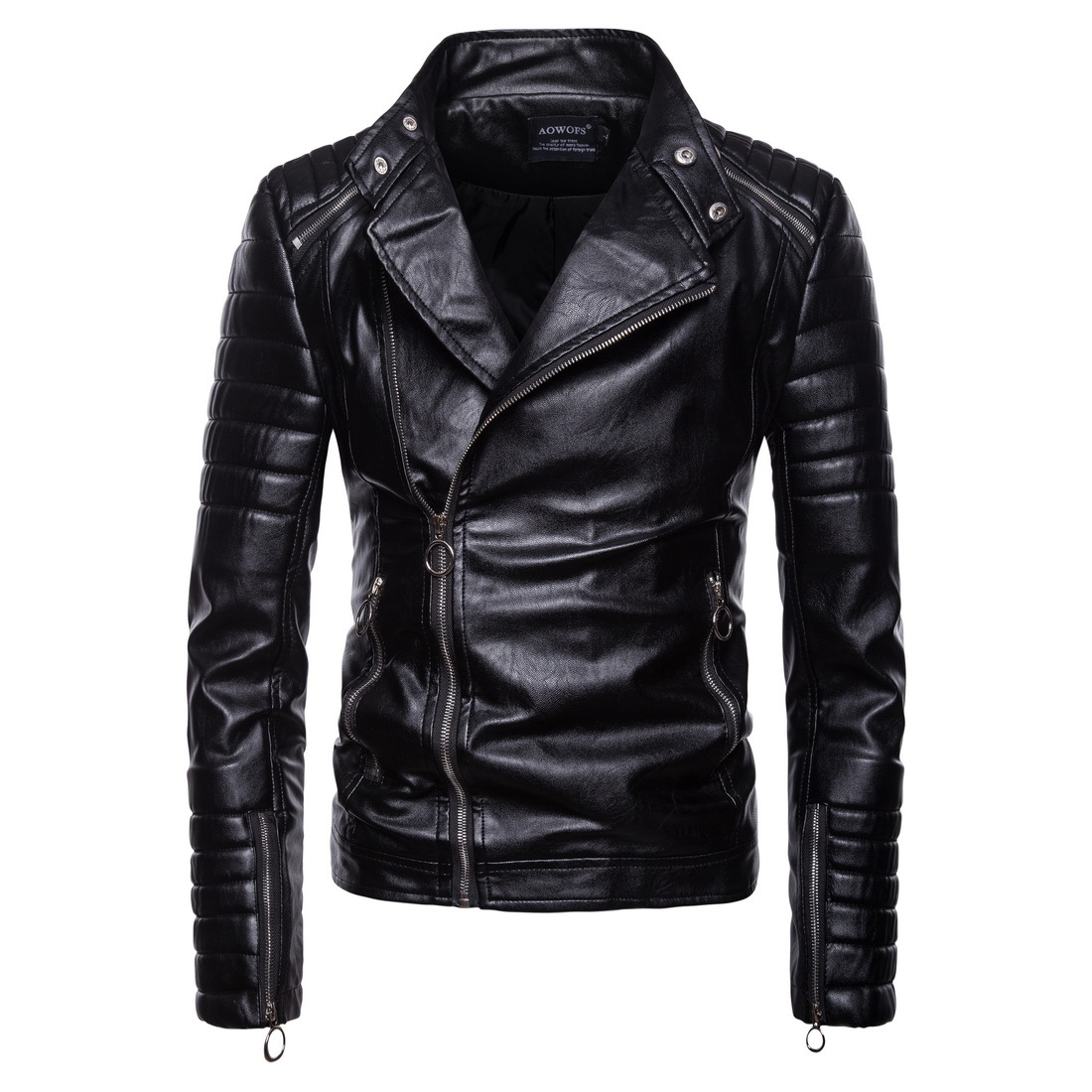 2018 Men's Classic Cross-pull Leather Jacket High Quality Men's Motorcycle Leather Jacket Jaqueta De Couro Coat Men Fashion
