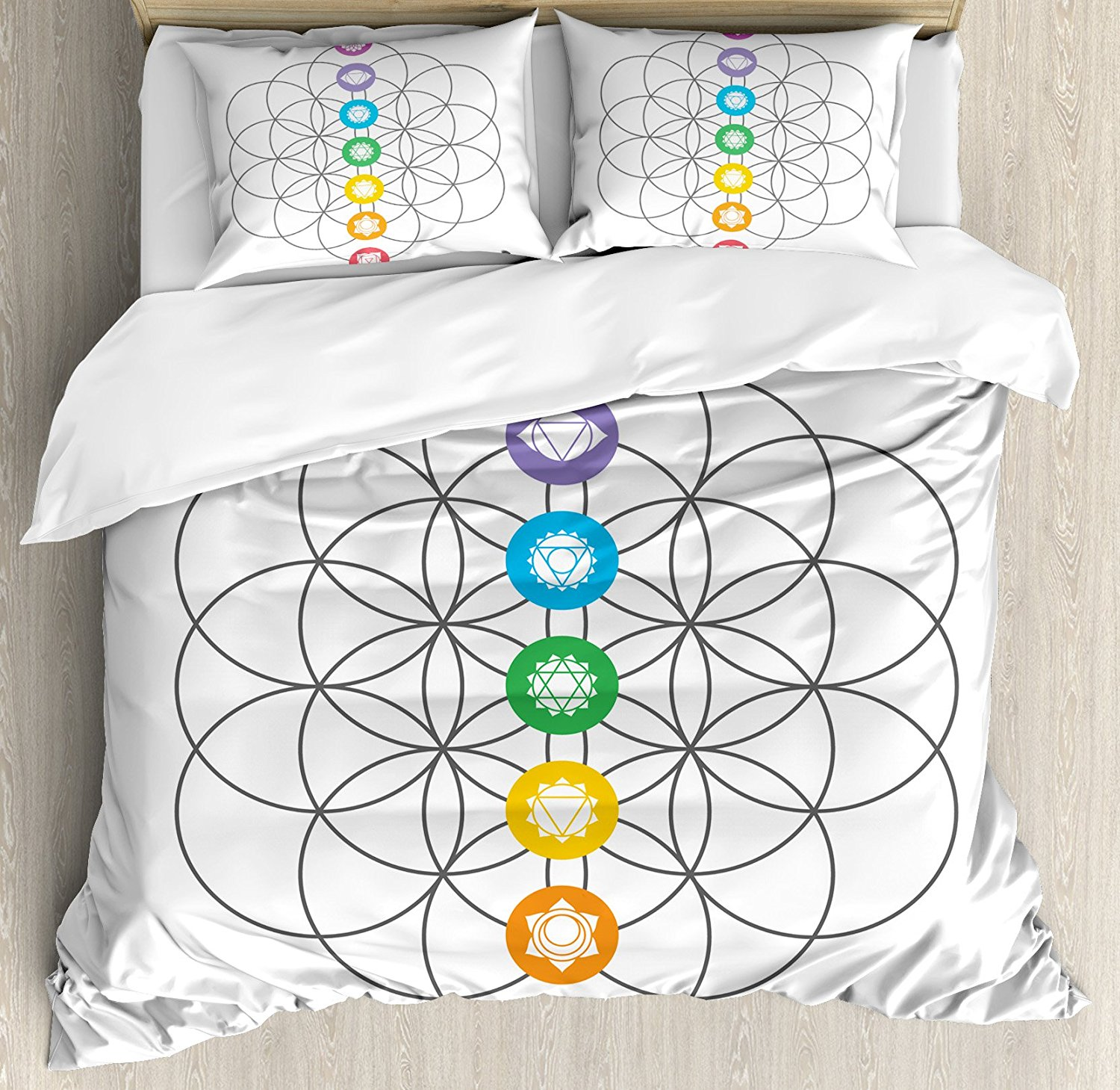 Sacred Geometry Duvet Cover Set Chakra Points in Vintage Concentric Rings of Partial Circle Zen Theme Image Bedding Set