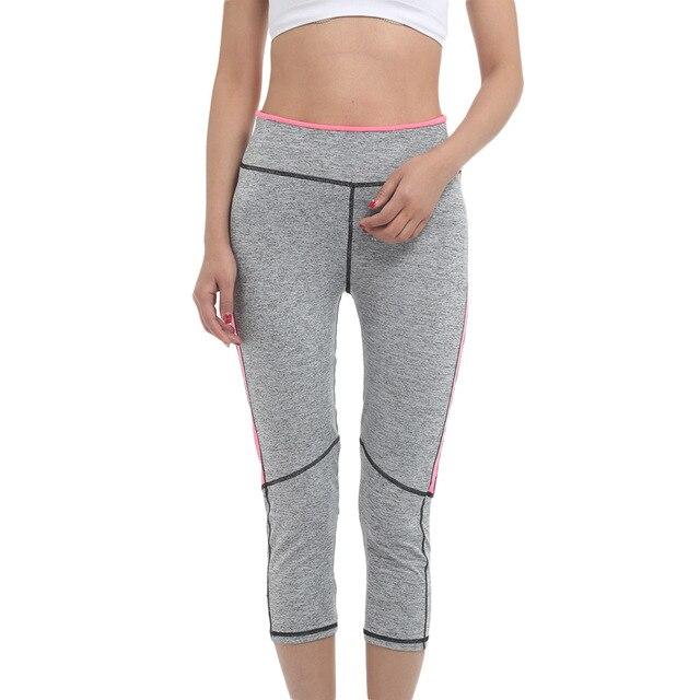 Nueva mujeres sexy pink gris gimnasio leggings de cintura alta de yoga running pantalones