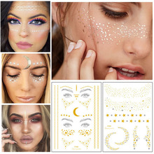 Glitter gold bronzing sticker for face makeup mixed size star moon shape silver instant Freckles temporary tattoo RA015