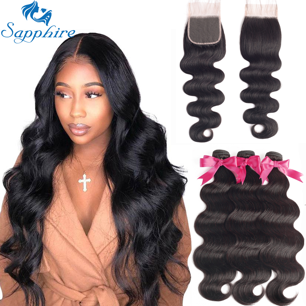 Sapphire Brazilian Hair Weave Bundles With Closure Body Wave Bundles With Closure Human Hair Bundles With