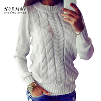 NORMOV Sweater Women Winter Europe And The United States Solid Round Long Sleeve Thick Women Knitted