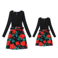 2017 Mother Daughter Dresses Big Girls Print Stitching Dress Party Autumn Winter Mom Kids Family Matching
