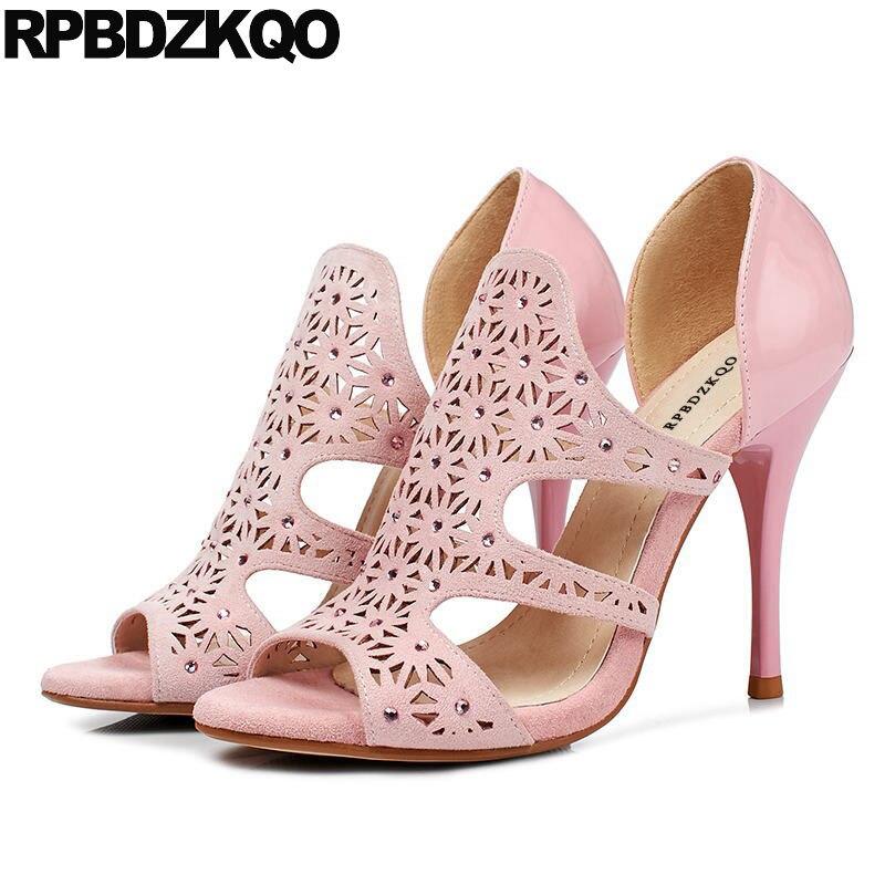 Luxury High Heels Pink Plus Size Slip On Stiletto Crystal Rhinestone Gladiator Sandals Women Diamond Peep Toe Cage Shoes PumpsLuxury High Heels Pink Plus Size Slip On Stiletto Crystal Rhinestone Gladiator Sandals Women Diamond Peep Toe Cage Shoes Pumps