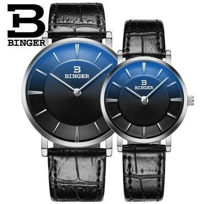 Switzerland Brand Binger Business Waterproof Quartz Watch Dress Black Leather Belt Buckle Fahshion High Quality Couple Watches