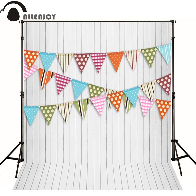 Allenjoy Photographic background flag dot line wood color baby happy birthday backdrops for sale photography backdrops studio