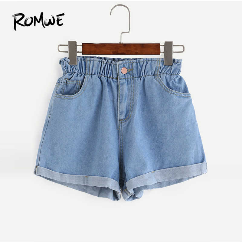 3cb0ad199e7d ROMWE Elastic Waist Roll Hem Denim Shorts 2019 Women Summer Blue Female  Korean Shorts Straight Leg