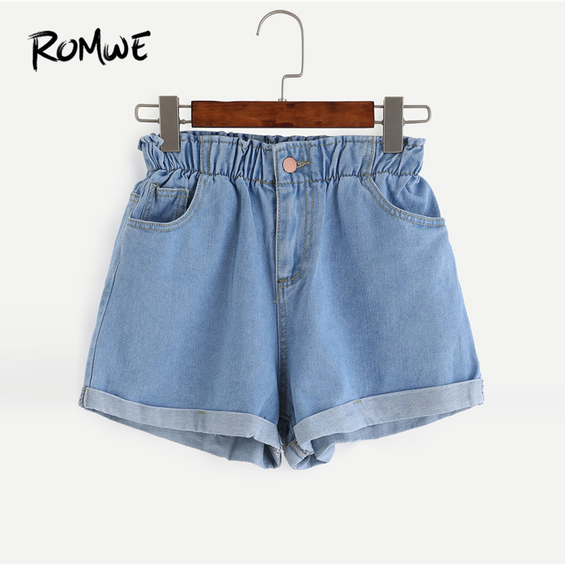ROMWE Elastic Waist Roll Hem Denim   Shorts   2019 Women Summer Blue Female Korean   Shorts   Straight Leg High Waist Pocket   Shorts