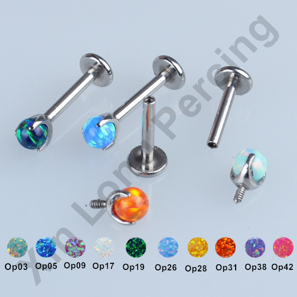 Mixed 10 Color Opal Ball Internally Threaded 316L Surgical Stee 16g Labret Lip Ear Cartilage Helix Tragus Stud Piercing Jewelry