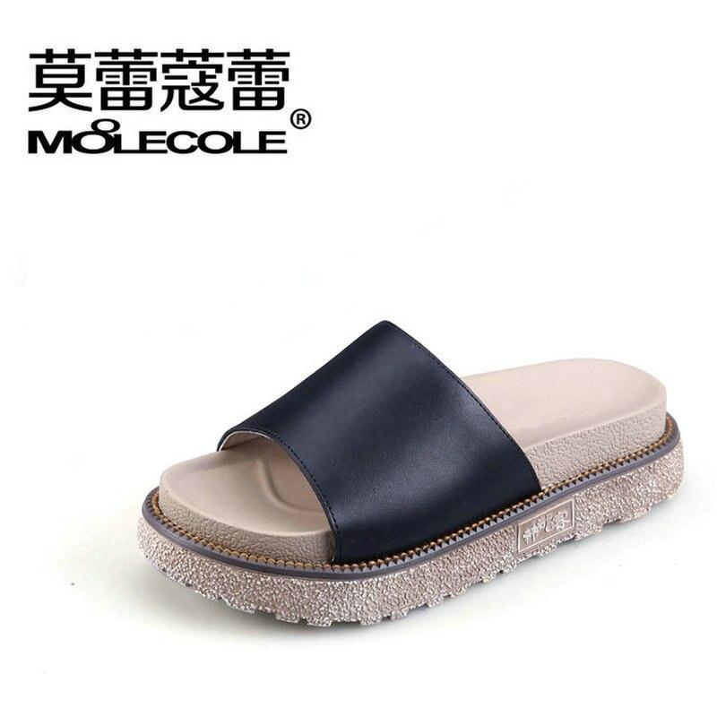 Moolecole 2018 Femmes Pantoufles Blanc Dame Flip Flops Fond Mou À La Main Femmes Chaussures En Cuir Véritable Plage Pantoufle Noir Sandale