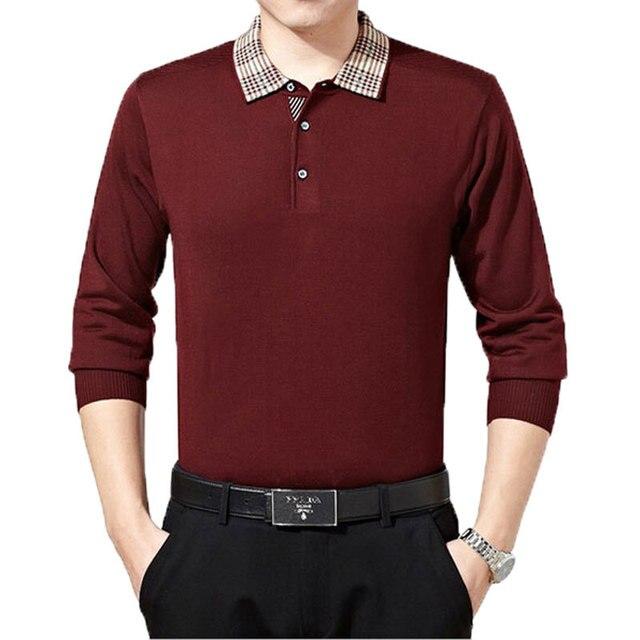 Мода Классика Стиль Мужчины С Длинным Рукавом Поло Успешные Люди Бизнес Повседневная Одежда PL0023