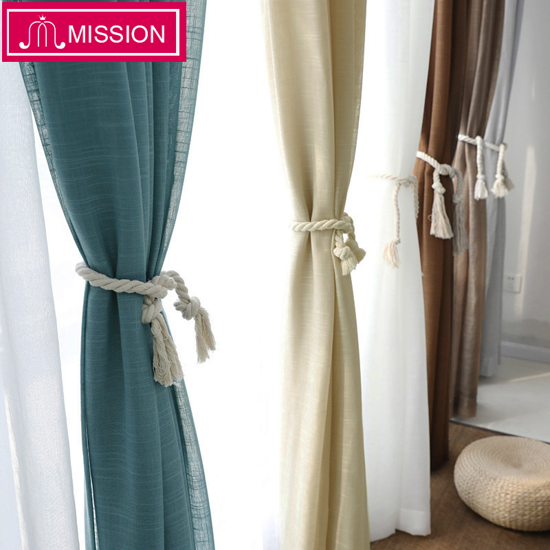 MISSION White Solid Tulle Sheer Curtains for Bedroom Window Voile Curtain for Living Room Kitchen Modern Curtain Blinds Drapes(China)