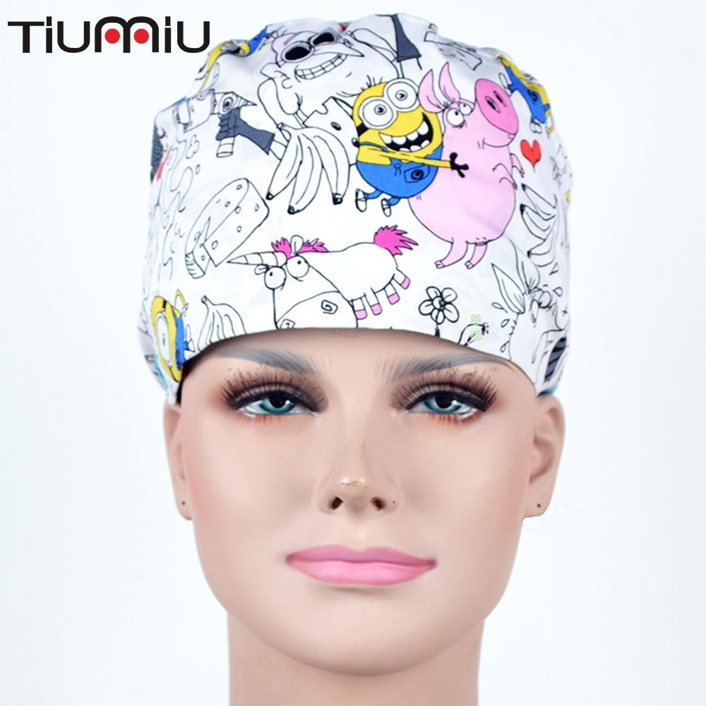 2019 Doctor Breathable High Quality Minion Cool Medical Caps Scrubs Film Cosmetic Surgical Hat Nurse Woman Man Hospital Dentist