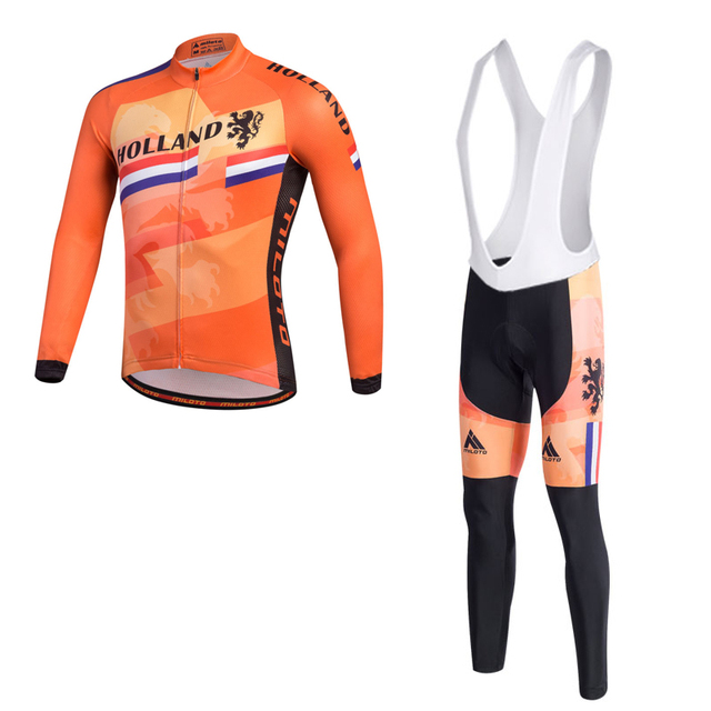 e9ae90f3c HOLLAND Pro cycling jersey long sleeve and bib pants set  Team MTB cycling  clothing Autumn  New arrival ciclismo bicycle clothes