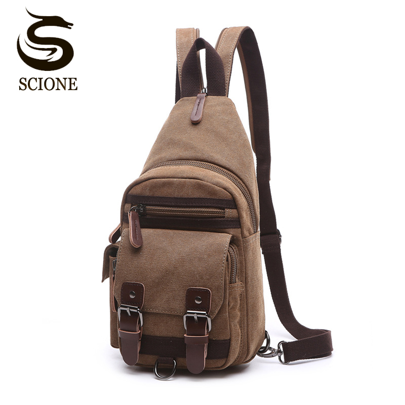 Canvas Chest Bag Pack Vintage Men Backpack Shoulder Bags Female/Male Travel Backpack Multifunction Small Bags Mens Back Pack Bag