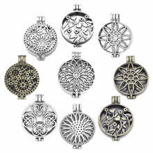 Wholesale 20pcs DIY Round Hollow Flower Photo Memory Filigree Floating Locket Pendants For Necklace Jewelry Findings A24740