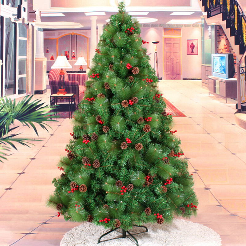 Red Red Pine Christmas Tree: 180CM / 1.8M Small Red Berries Mixed Pine Cones + PVC