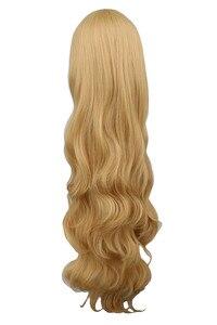 Image 3 - QQXCAIW Phụ Nữ Cô Gái Dài Wavy Cosplay Blonde 100 Cm Siêu Dài Chịu Nhiệt Synthetic Tóc Tóc