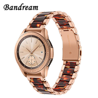 Stainless Steel & Resin Watchband for Samsung Galaxy Watch 42mm Active Active2 44mm 40mm Quick Release Band Women Strap RoseGold