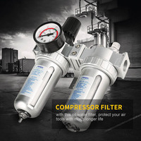 G1/2 Inch Air Compressor Filter Oil Water Separator Trap Tools with Regulator Gauge ALI88